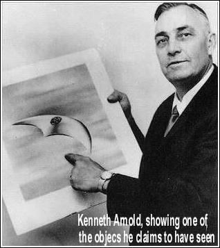 Kenneth Arnold showing his 'Saucer'