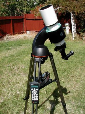 My Orion Short-Tube 90 refractor on a Celestron 114 GoTo mount